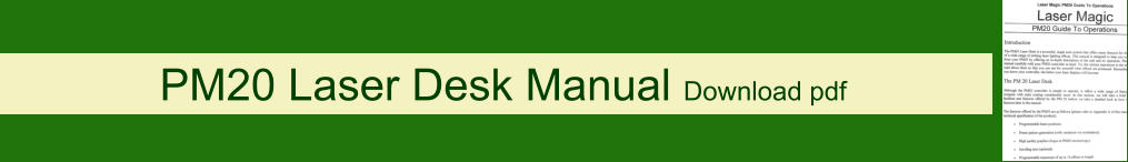 PM20 Laser Desk Manual Download pdf